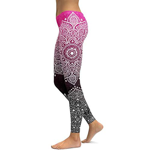 WHFDDDK Pink To Black Mandala Yoga Leggings Yoga Pantalones Entrenamiento Sport Gym Leggings
