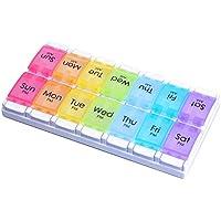 Organizer wöchentlich, alohha Tablettendosierer Pillendose Tablettenbox Spender 7Tage mit 14Große Fächer BPA-frei... preisvergleich bei billige-tabletten.eu