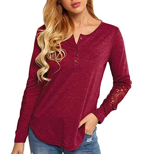 OSYARD Damen Oberseiten Sweatshirt Pullover, Frauen Pulli Tunika Hemd V-Ausschnitt Spitze Patchwork Openwork Tops T-Shirt Bluse Langarm Strickpullover Oberteile(XL, ()