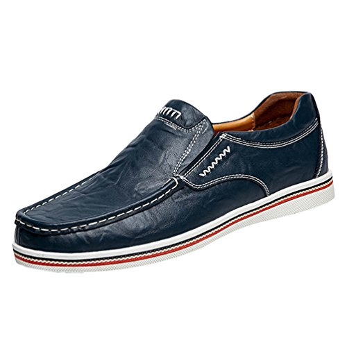 Dooxi uomo elegante piatto mocassini scarpe casuale scivolare loafers scarpe da barca blu 46