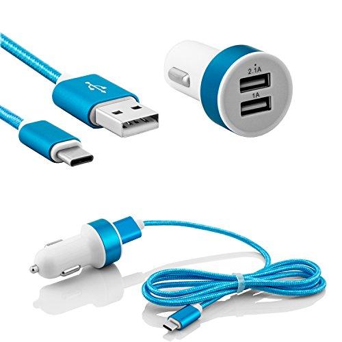 USB 3.1 Typ C Auto Ladegerät mit 2.1A und 1.0A Dual USB Kfz Ladeadapter für Zigarettenanzünder - Nylon Ladekabel für Handys Smartphones Tablets mit Type C Anschluss in Blau