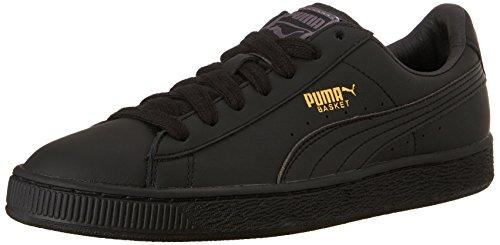 PUMA Men's Basket Classic LFS Fashion Sneaker, Black/Team Gold, 10 M US