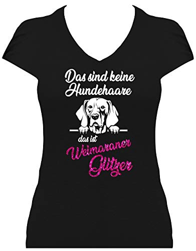 BlingelingShirts Shirt Damen Glitzer Weimaraner Das sind Keine Hundehaare das ist Weimaraner Glitzer Graue Hund, T-Shirt, Grösse L, schwarz Druck weiß und pink GL -