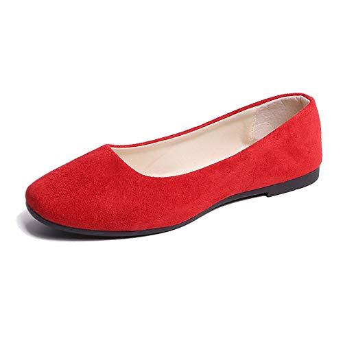 Mujer Bailarinas Básicas de Piel Sintética Zapatos Planos Ocio y Moda,Rojo,38 EU