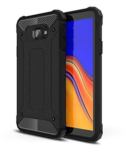 AOBOK Samsung Galaxy J4 Plus Case, Black Hybrid Armor Cover Extreme Drop Protection and Air Cushion Technology, Anti-Scratch, Case for Samsung Galaxy J4 Plus Smart Phone