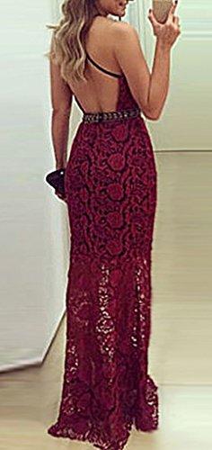 Bigood Robe de Mariée Mariage Femme Dentelle Robes Longues Cérémonie Soirée Sans Manche Epaule Nue Rouge