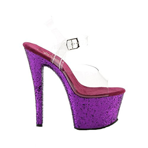 Pleaser FLAMINGO-801, Sandali Donna Clr/Purple Glitter