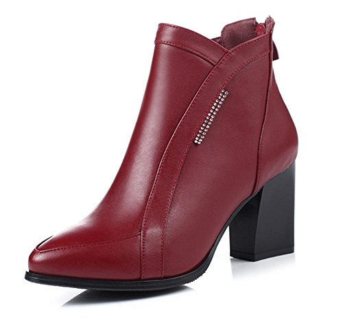 bottes pour femmes avec des bottes épaisses Martin ont souligné les bottes simples des femmes à talons hauts de Mme chaussures d'ascenseur chaussures casual automne red wine