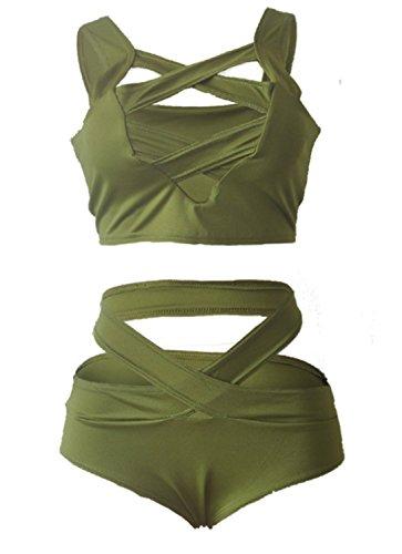 EMIN Damen Verband-Push-Up Badeanzug Neckholder Sexy Mordern Swimwear Bikini Set Bademode Grün