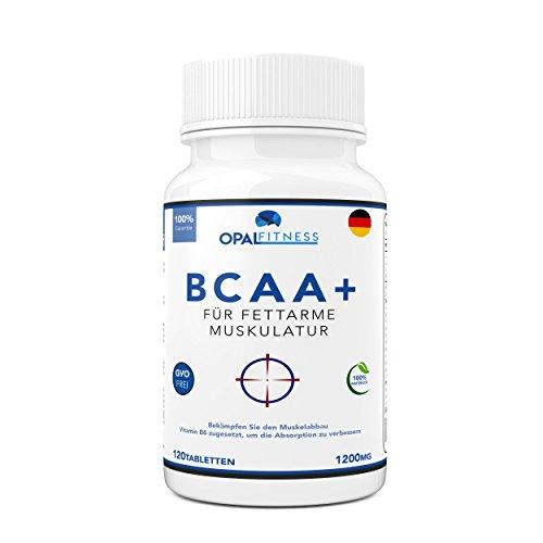 BCAA Tabletten | 1200mg verzweigtkettige Aminosäuren | BCAA+ mit zugesetztem Vitamin B6 als Absorptionhilfe | Leucin, Isoleucin und Valin im optimalen 2 1 1 Nährstoffverhältnis