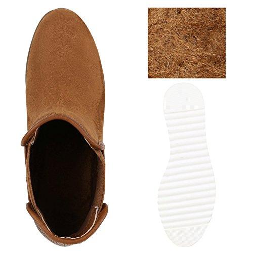 Damen Chelsea Boots Prints Weiße Profil Sohle Stiefeletten Braun
