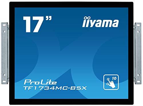 iiyama Prolite TF1734MC-B5X 43cm (17 Zoll) LED Monitor XGA Open Frame 10 Punkt Multitouch kapazitiv (VGA, HDMI, DisplayPort, USB für Touch, IP65) Schwarz