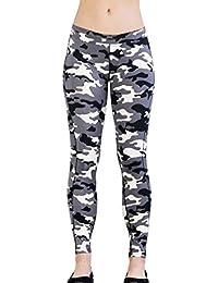 Moda Pantalones Deportivos - Mujer Talle Bajo Pantalón con Cintura Elástico Casual Aptitud Slim Fit Skinny Leggings Camuflaje Pantalones
