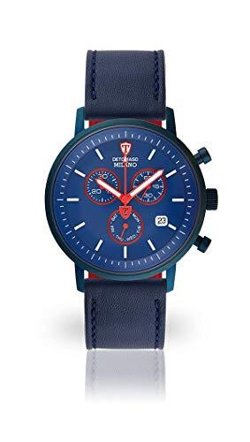 DETOMASO Milano Herren-Armbanduhr Chronograph Analog Quarz blaues Edelstahlgehäuse blaues Zifferblatt - Jetzt mit 5 Jahre Herstellergarantie (Leder - Blau II)