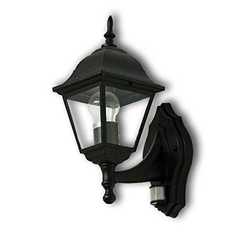 "Rustikale Gartenlaterne\""Tirol\"" in schwarz mit Bewegungsmelder E27 bis 60W 230V Sensor verstellbar Sensor Außenleuchte Wandlampe Hof Garten Beleuchtung"