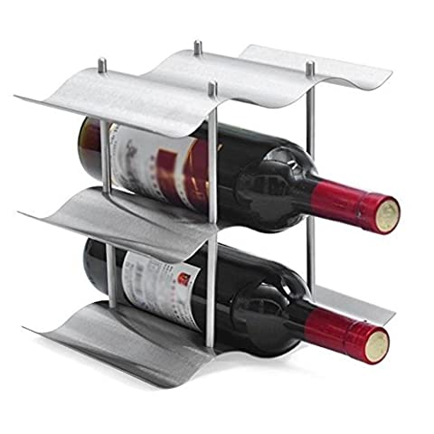 GSPStyle 9-Bottle Stainless Steel Wine Rack Attractive Portable Kitchen Wine Storage Colour Silver by GSPStyle