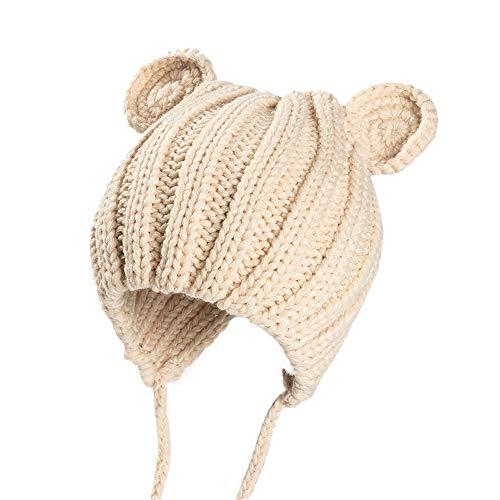 (MMJ Stricken Winter Baby Hut Ohren niedlichen Cartoon Spitze Kind Baby Mütze 1-3 Jahre alt 5 Farben (Farbe : Beige, größe : S))