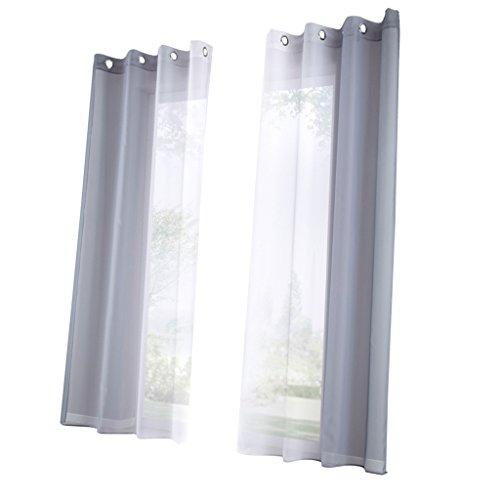 D DOLITY 2pcs Moderne Tüll Vorhänge Gardinen Gardinenschal Dekoschal für Schlafzimmer Wohnzimmer - Grau- Größe S