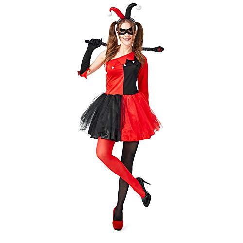CFByxr Halloween Kostüme - Erwachsenenanzug + Kinderanzug Zirkus Lustiger Clown Mit Handschuhen für Party Cosplay Maskerade Kleidung (XS-L)