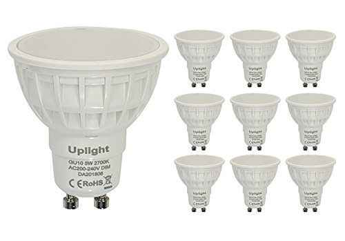 Uplight 10 Pack GU10 LED Bulbs Dimmable LED Bulbs GU10 5W AC240V 420lm 2700K Warm White 120 Degree Beam Angle 50Watt Replacement for Halogen Bulbs 3 years warranty