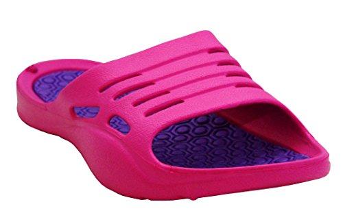 Womens Ladies Lightweight Slip On EVA Peep Toe Girls Summer Beach Pool Sliders Flip Flops Casual Mules Sandals Shoes UK Sizes 3-8 (UK 6, Fuchsia/Lilac)