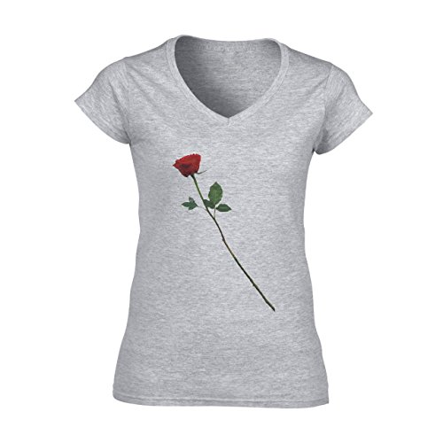 Flowers Nature Blossom Plant Rose Red Blossom One Damen V-Neck T-Shirt Grau