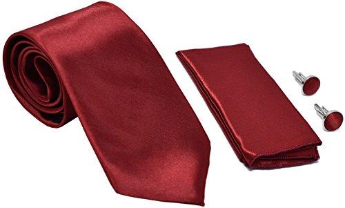Kingsquare Herren Krawatte, Einstecktuch und Manschettenknöpfe - Rot -