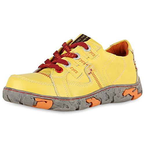 TMA Damen Sneaker Low Leder Freizeit Schuhe Vintage Turnschuhe 174947 Gelb 40 Scarpe Vita