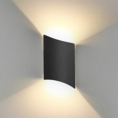 16W Applique Murale led Intérieur exterieur Huat en bas Lampe murale LED Moderne Blanc chaud Imperméable IP65 Appliques Murales interieures en Aluminium pour Salon Escalier Couloir Chambre Jardin