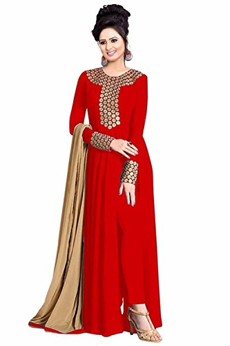vaankosh fashion Women\'S Red Georgette Designer SalwarSuits PartyWear Dress Materials