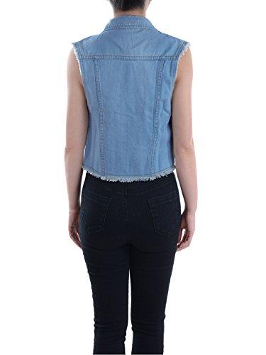 Anna-Kaci Damen Blau Denim Distressed ausgefranst Button Up ärmellos Jeans Jacke Weste Blau
