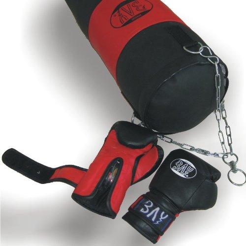 BAY® BOXSET Leder PU für Damen, Junioren, Kinder 8 Kilo fertig gefüllt, 65 x 25 cm, Box-Set Sandsack Boxsack + Boxhandschuhe, Kids Junior Teens, schwarz/rot, befüllt + Stahlkette, Box-Handschuhe