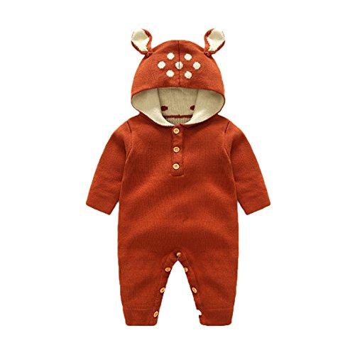 GWELL Baby Kleinkind Gestrickter Strampler Overall Jumpsuit aus Baumwolle Hirsch Tieroutfit Tier Kostüm mit Kapuze für Jungen Mädchen Braun 90