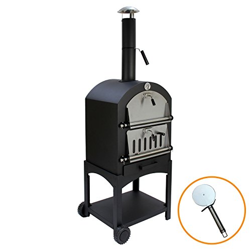 KuKoo Outdoor Pizza Oven Plus Free Pizza Cutter, Wood Fired Charcoal Garden & Patio Chimney Oven, BBQ Smoker & Bread Oven