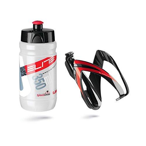 Elite Botella + Soporte, Kit CEO, 350ML, Negro/Rojo/Transparente, 2Piezas (1Juego)