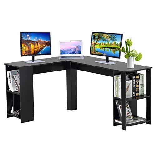 DOSLEEPS Escritorio para computadora, en forma de L, para ordenador portátil, escritorio, estación de trabajo, escritorio para juegos para el hogar y la oficina, espacio pequeño, grano de madera negra