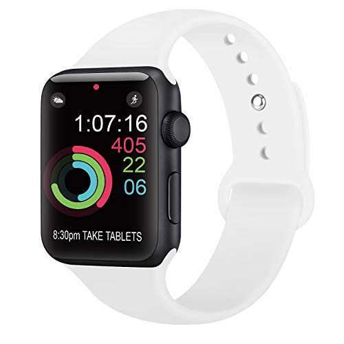 AK kompatibel mit für Apple Watch Armband 42mm 38mm 44mm 40mm, Weiche Silikon Sport Ersatz Armbänder kompatibel mit für iWatch Series 4, Series 3, Series 2, Series 1 (05 Weiß, 42/44mm S/M) Weiß Apple