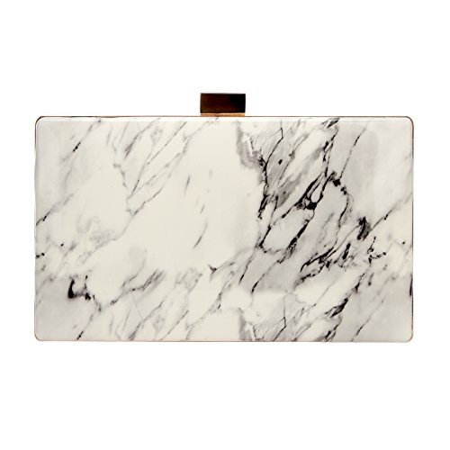 Bonjanvye Marble Pattern Bag For Women Evening Clutch Purse Leather White