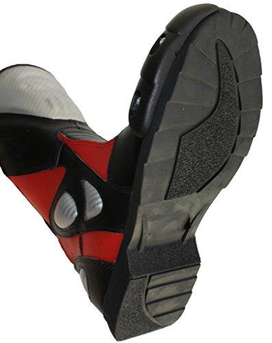 Lemoko Leder Motorradstiefel mit Kunststoffverstärkungen schwarz rot, Gr. 44 - 3