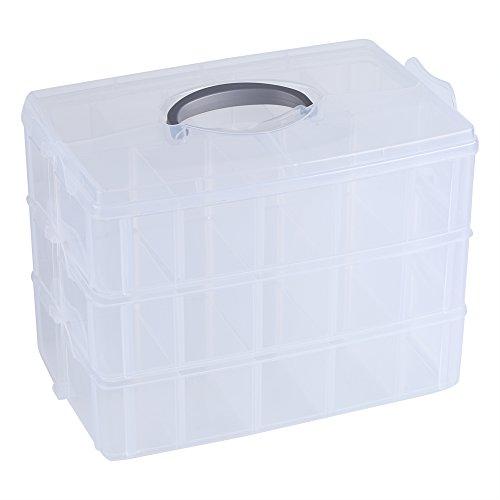 Klar Kunststoff Box Organizer Container transparent Aufbewahrungsbox mit verstellbaren Trennwänden für die Schmuck Craft Perlen