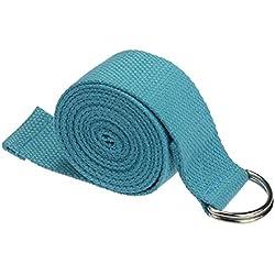 Yoga Cinturon - TOOGOO(R)moda accesorio de Yoga Cintura Pierna fitness ajustable 180CM Correa entrenamiento estiramiento D-Ring algodon hebilla de cinturon Azul