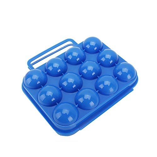 E-CHENG(TM Outdoor Camping Hiking Portable Folding Plastic 12 Grids Egg Case Carrier Box Eggs Container Keeper Storage Box Hard Case with Handle-Blue by Blue (12 Grids) Keeper Container