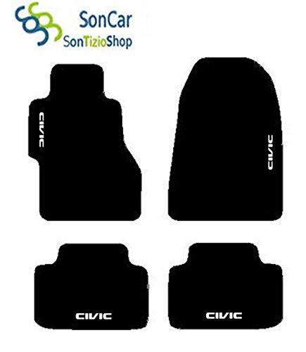 Alfombras Negras para coche, juego completo de alfombras de moqueta a medida para Honda Civic con bordado de hilo color Civic 2002blanco.