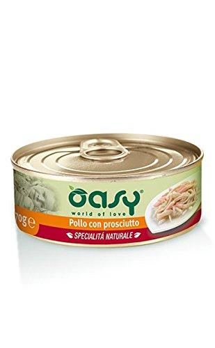 Oasy Gatto Filetti di Pollo con Prosciutto 70 gr x 24 pz Cibo Alimento Umido Gatto
