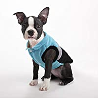 Idepet Pet Dog Cat Coat with Leash Anchor Color Patchwork Padded Puppy Vest Teddy Jacket Chihuahua Costumes Pug Clothes (L, Blue)