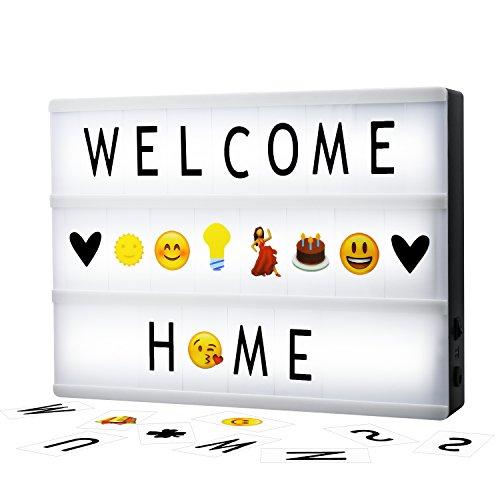Cinematic Light Box A4 Solotree Caja de Luz Cinematográfica Tamaño A4 con 160 Letras y Emojis ideal para decorar su hogar, boda, cumpleaños y otros eventos especiales