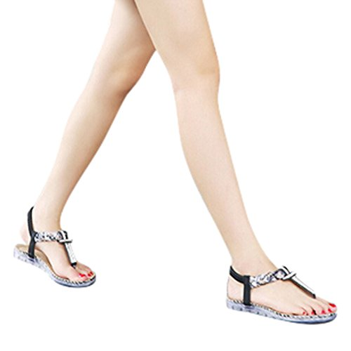 Longra Donna Boemia strass Large Size scarpe piane Nero