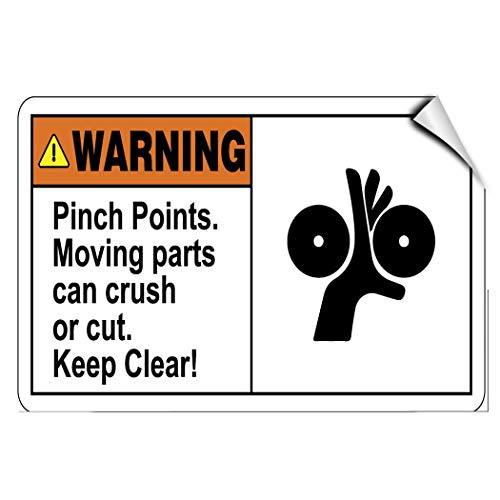 Label Decal Sticker Warning Pinch Points Moving Parts Crush Or Cut Keep Clear Durability Self Adhesive Decal Uv Protected & Weatherproof