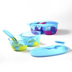 ON-THE-GO' - Travel Baby Feeding Bowl Set with Lid (Lime Green Colour)