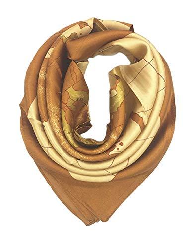 Iamotus sciarpa di seta smile modello femminile ampio foulard a testa di raso quadrato per le donne in autunno (gold)
